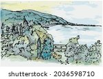dawn over sea bay surrounded by ... | Shutterstock .eps vector #2036598710