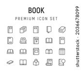 premium pack of book line icons....