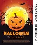 halloween party flyer template  ... | Shutterstock .eps vector #2036688710