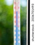 A Celsius Thermometer On A...
