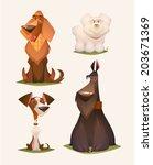 Stock vector dog characters cartoon vector illustration 203671369