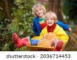 Kids In Wheelbarrow On Pumpkin...