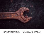 vintage wrenches covered with... | Shutterstock . vector #2036714960