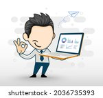 young business man holding a...   Shutterstock .eps vector #2036735393