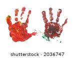 Children's hand prints - stock photo