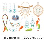 fashionable accessories boho... | Shutterstock .eps vector #2036757776