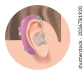 hearing aid. fighting deafness. ... | Shutterstock .eps vector #2036781920