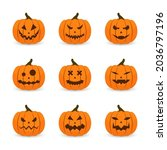 scary faces and ghosts for... | Shutterstock .eps vector #2036797196