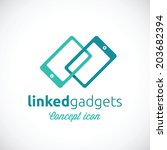 Linked Gadgets Abstract Vector Concept Icon or Logo Template