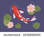 traditional japanese koi fish...   Shutterstock .eps vector #2036836043