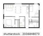 apartment floor plan. two...   Shutterstock .eps vector #2036848073
