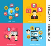 education learning concept flat ... | Shutterstock . vector #203694859