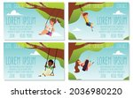set of web banners with happy... | Shutterstock .eps vector #2036980220