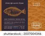 premium quality alaskan halibut ... | Shutterstock .eps vector #2037004346