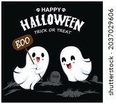 vintage halloween poster design ... | Shutterstock .eps vector #2037029606