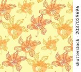 seamless pattern with autumn... | Shutterstock .eps vector #2037029696