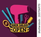 hair salon over purple... | Shutterstock .eps vector #203706970