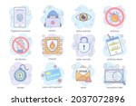 cyber security concept flat... | Shutterstock .eps vector #2037072896