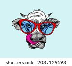 hand drawn cute cow in red... | Shutterstock .eps vector #2037129593