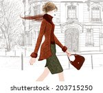 young woman walking in a street ... | Shutterstock .eps vector #203715250