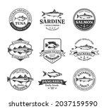 vector fish logo and fish...   Shutterstock .eps vector #2037159590