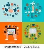 set of flat design backgrounds... | Shutterstock .eps vector #203716618
