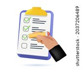 hand holding checklist on a... | Shutterstock .eps vector #2037206489