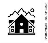vector black icon for lodge   Shutterstock .eps vector #2037348350