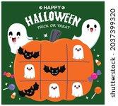 vintage halloween poster design ... | Shutterstock .eps vector #2037399320