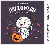 vintage halloween poster design ... | Shutterstock .eps vector #2037399326
