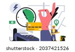 online food delivery service to ... | Shutterstock .eps vector #2037421526