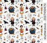 halloween vector pattern....   Shutterstock .eps vector #2037450470