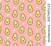 cute avocado seamless pattern...   Shutterstock .eps vector #2037495113