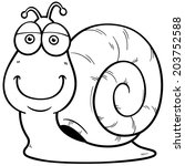 Vector illustration of Snail cartoon - Coloring book - stock vector