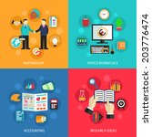 business concept flat icons set ... | Shutterstock . vector #203776474