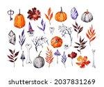 watercolor set of halloween...   Shutterstock . vector #2037831269
