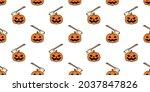 pumpkin halloween seamless... | Shutterstock .eps vector #2037847826