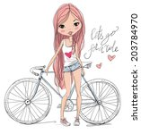 girl with bike  | Shutterstock .eps vector #203784970