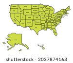 green simplified map of usa ...   Shutterstock .eps vector #2037874163