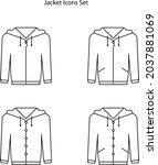 jacket icons set isolated on...