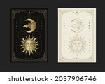 sun and moon face in engraving  ... | Shutterstock .eps vector #2037906746