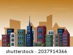 twilight afternoon city urban... | Shutterstock .eps vector #2037914366