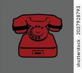 one dusty red old landline