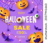 halloween sale promotion banner ...   Shutterstock .eps vector #2037941663