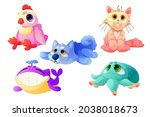 plush animals  funny soft toys... | Shutterstock .eps vector #2038018673