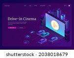 drive in cinema banner. outdoor ... | Shutterstock .eps vector #2038018679