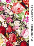 collection of rose fabric... | Shutterstock . vector #203804158