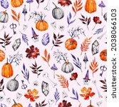 hand drawn watercolor halloween ...   Shutterstock . vector #2038066103