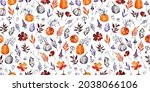hand drawn watercolor halloween ...   Shutterstock . vector #2038066106