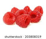 raspberries isolated on a white ... | Shutterstock . vector #203808319